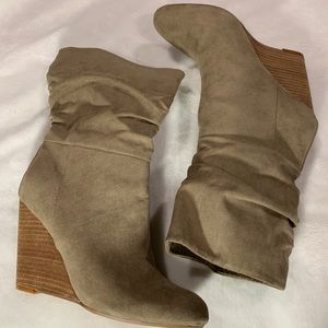 Taupe wedge booties